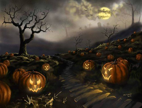 Image result for spooky pumpkin patch