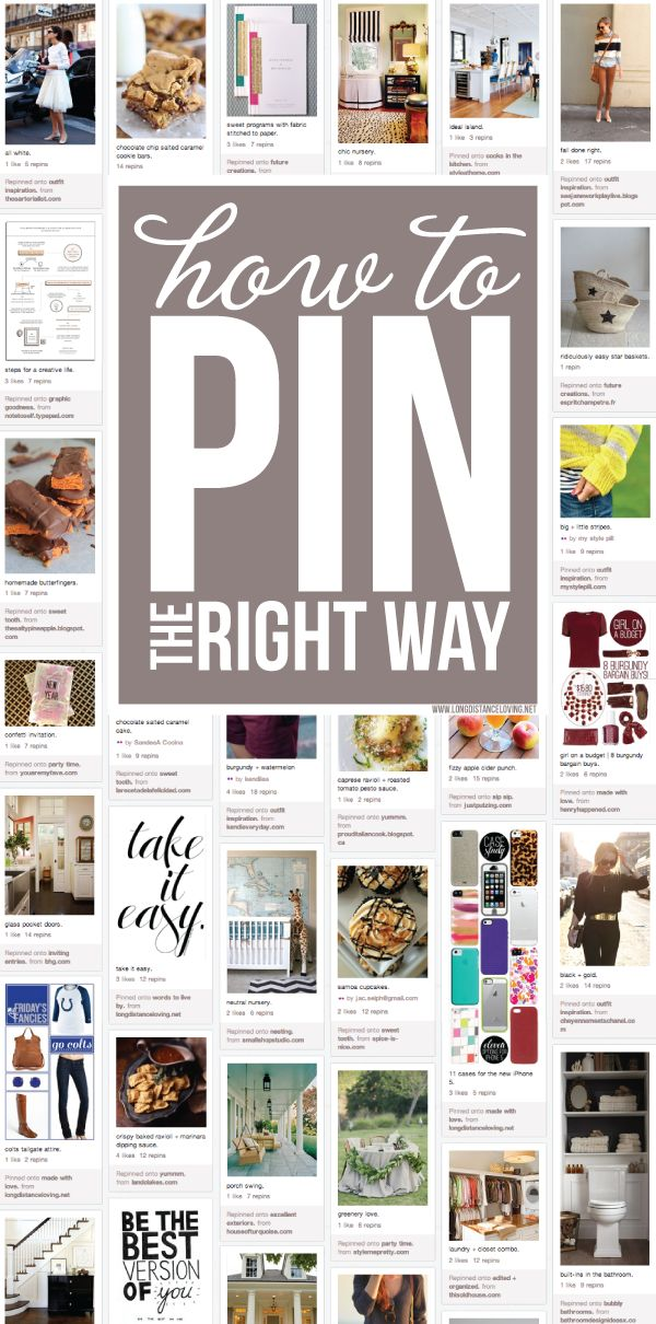"""how to pin the right way.    Colleen's note: Good tips! I will """"like"""" more until I have time to find the source."""