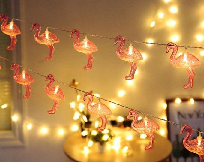 Battery Operated 10LEDs Flamingo Warm White Fairy String Light for
