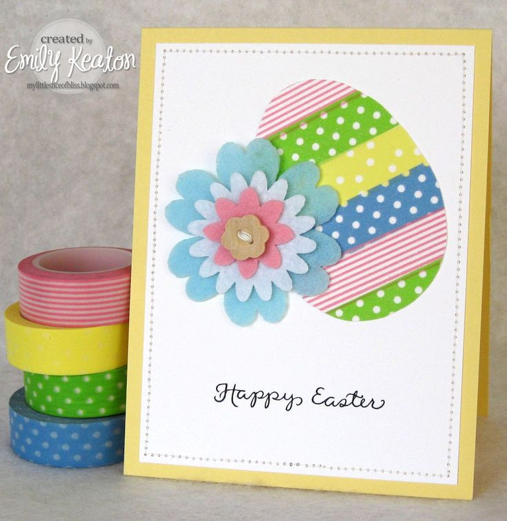My Little Slice of Bliss: Ways With WASHI TAPE: EASTER EGGS, an Easter egg washi tape card