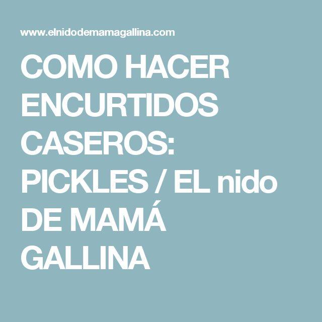 COMO HACER ENCURTIDOS CASEROS: PICKLES / EL nido DE MAMÁ GALLINA