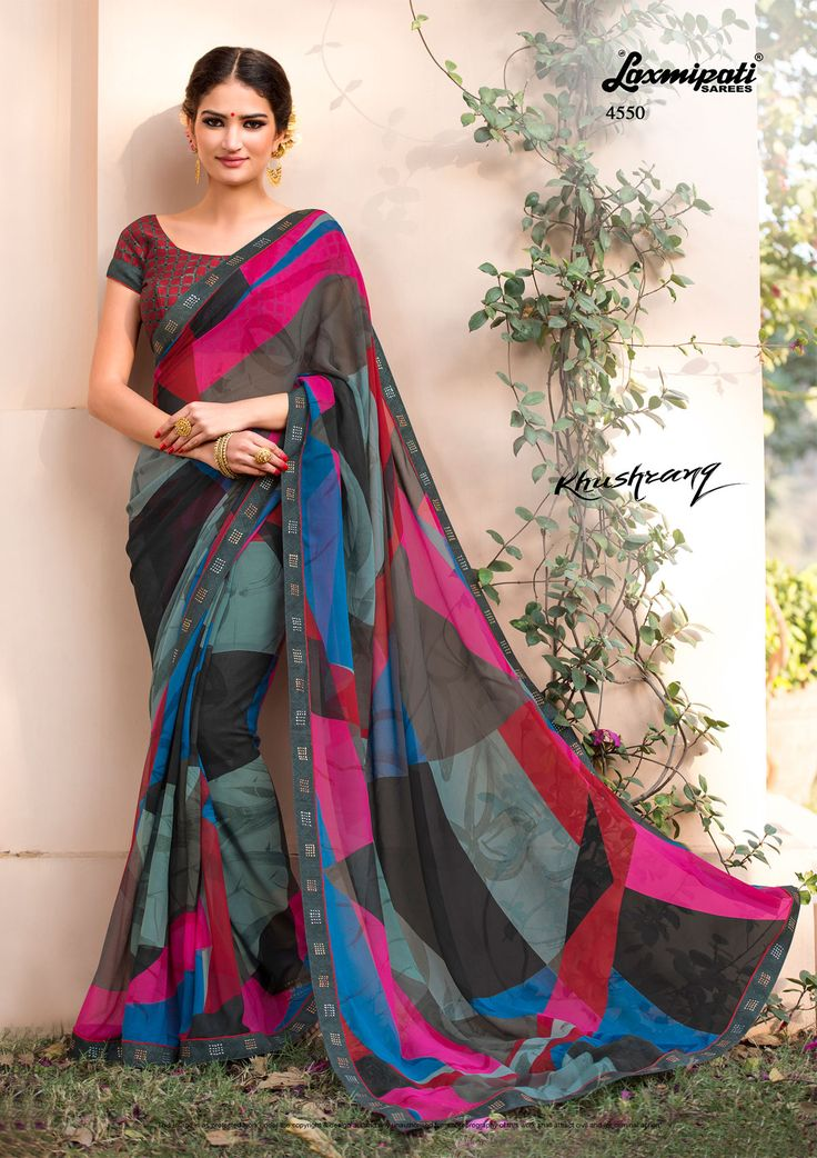 Looking for multicolor #georgette printed saree and maroon pashmina blouse along with fancy lace border in India? #LaxmipatiSarees is your one stop shop for all kinds of designer #printed sarees. #Catalogue – KHUSHRANG, Design number-4550, Price: ₹ 1733.00  #KHUSHRANG0317 #RamNavami #Happy #Navratri