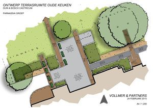 design for a terrace round the old kitchen of Duin & Bosch, care estate Catsricum by Vollmer & Partners