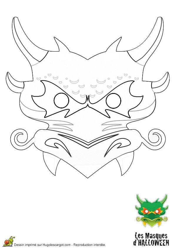 Un masque en dragon pour Halloween à colorier