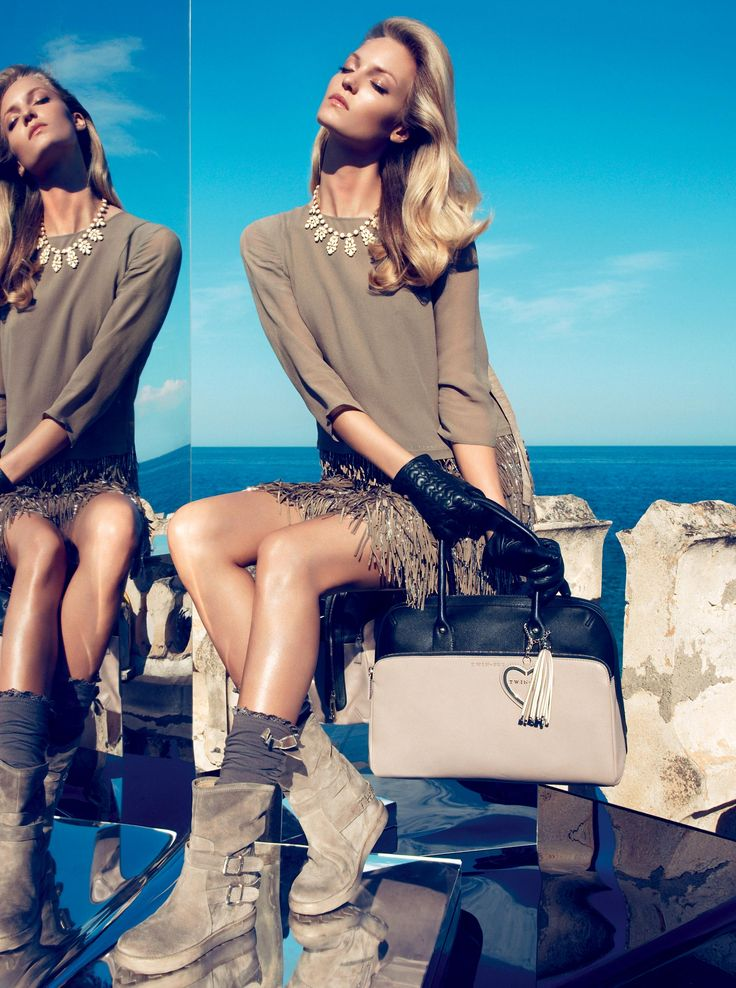TWIN-SET Simona Barbieri: Dress with lower part with fringes and bead pendants, necklace with pendant, leather glove with heart-shaped quilting, two-tone handbag with heart pendant and biker boots with wedge and straps