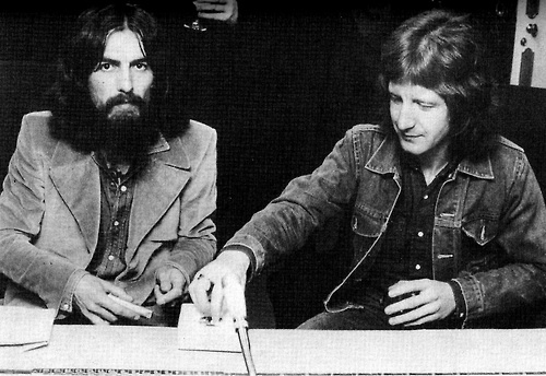 George and Pete Ham, composer of Harry Nilsson's hit Without You and dozens more Badfinger songs, photographed at the opening of Apple Recording Studios on Savile Row, London