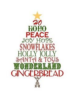 FREE printable Christmas Tree Word Art. Would look really cute in a