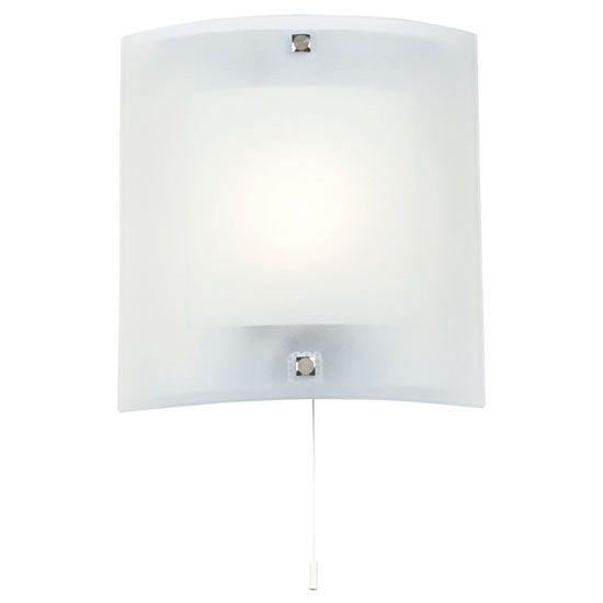 Endon - Blake Square Curved Glass Wall Light Fitting with Pull String- 143-WB Curved glass ...