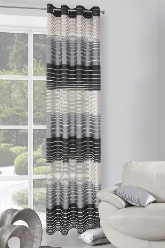 Závěs na okno pruhovaný v odstínech šedi