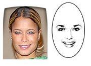 Oblong face shape    Face is longer than it is wide.  Long, straight cheek line.