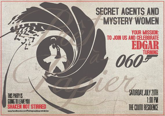 Custom listingJames Bond Party Invitation and props by PretaPapier, $40.00