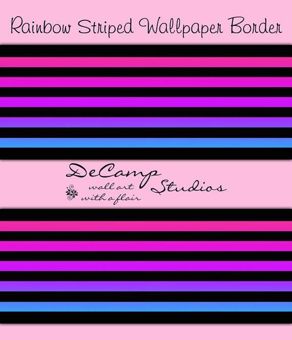 Rainbow Striped Abstract Wallpaper Wall Border Modern Art