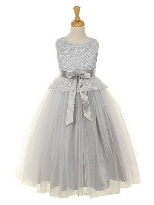 Silver Elegant Lace Bodice with Tulle Skirt Flower Girl Dress (Sizes 2-12 in 6 Colors)