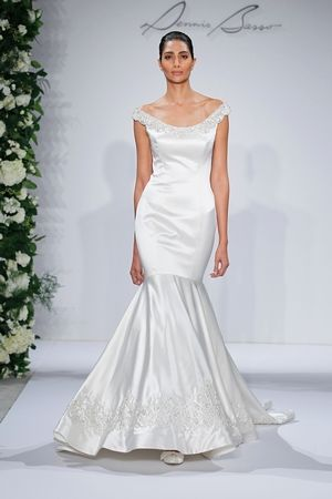 Bateau Mermaid esküvői ruha Eldobott Derék szatén.  Menyasszonyi ruha stílus…