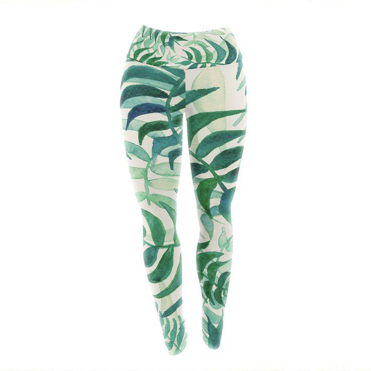 "Viviana Gonzalez ""Botanical Vibes"" Green Beige Watercolor Yoga Leggings from KESS InHouse"
