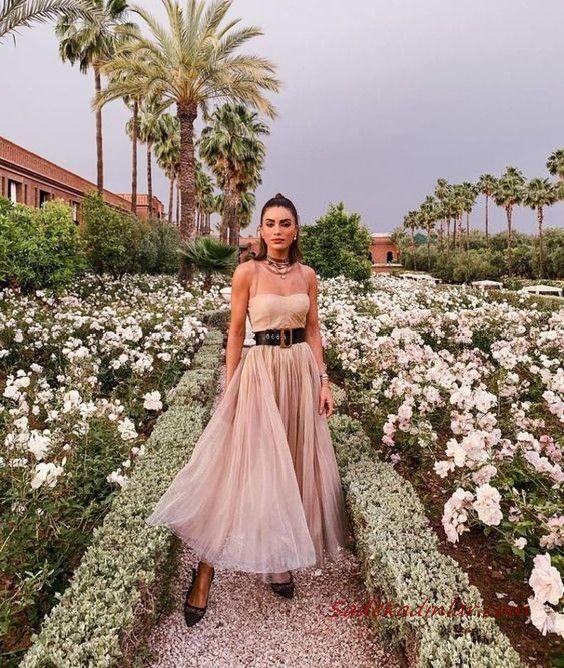 2020 Düğün Elbise Modelleri Vizon Uzun İp Askılı Kloş Etekli