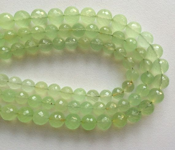 Fresh Green Chalcedony Micro Faceted Round Balls by gemsforjewels