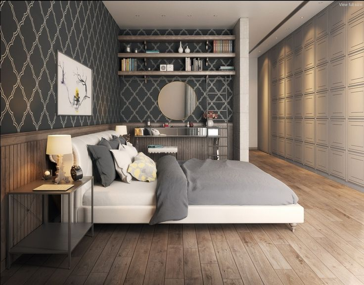 20 Elegant Stylized Bedroom Wallpaper Design in White Gray