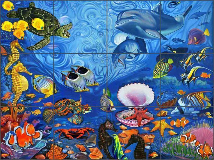 Ceramic Tile Backsplash Mural Agudelo Undersea Turtle Dolphin Fish Art FAA021 #ArtworkOnTile #Traditional