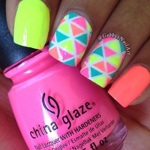 Mosaïc Nail Art: Love Nails, Mosaïc Nails, Nails Art, Nails Design, Nailart Nailpolish, Geometric Nails, Summer Nails, Nails Polish, Neon Nails