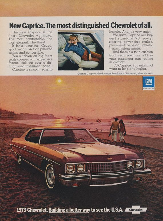 1973 Chevrolet Caprice Car Ad Vintage Automobile by AdVintageCom