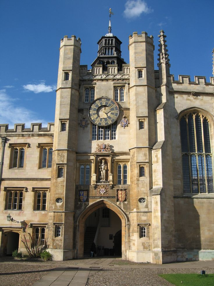 Trinity Clock Tower in the Great Court, Cambridge University, Cambridgeshire, England, UK To book go to www.notjusttravel.com/anglia