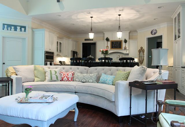 Curved Tufted Sectional. Family room