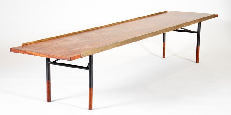 Finn Juhl (1912-1989). Table bench in Rio Rosewood, with polished brass edges, anodized metal legs and rosewood shoes. Model BO 101. Designed in 1953. Produced by Bovirke. #BO101 #FinnJuhl