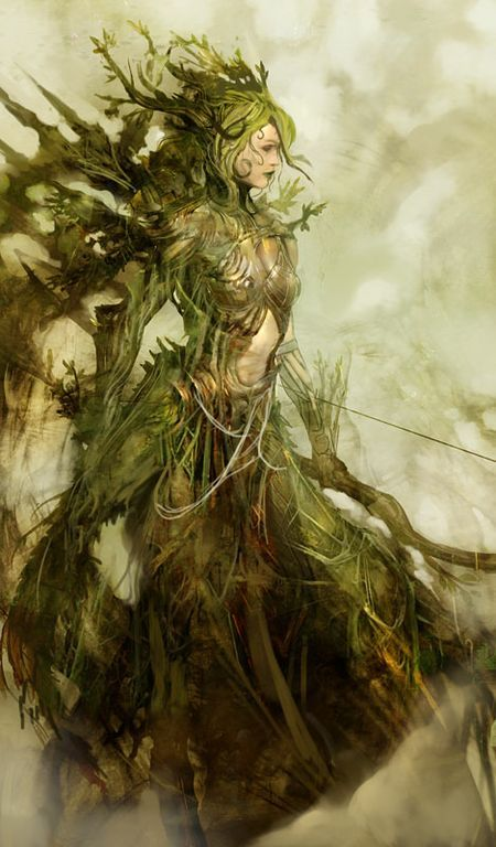 Female druid? Forest Queen.  Wish I knew whose art it was!