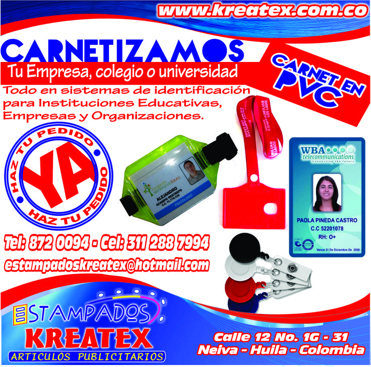 CARNETIZAMOS...... www.kreatex.com.co