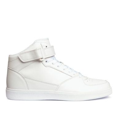 Hi-tops with laces and a velcro tab at the top and rubber soles.