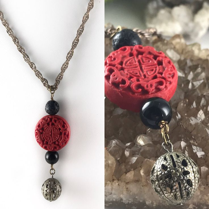 Red Cinnabar Pendant Necklace, Contemporary Cinnabar, Lava Bead Necklace, Vintage Silver Rope Chain Necklace, Aromatherapy Necklace by GardensGateJewelry on Etsy