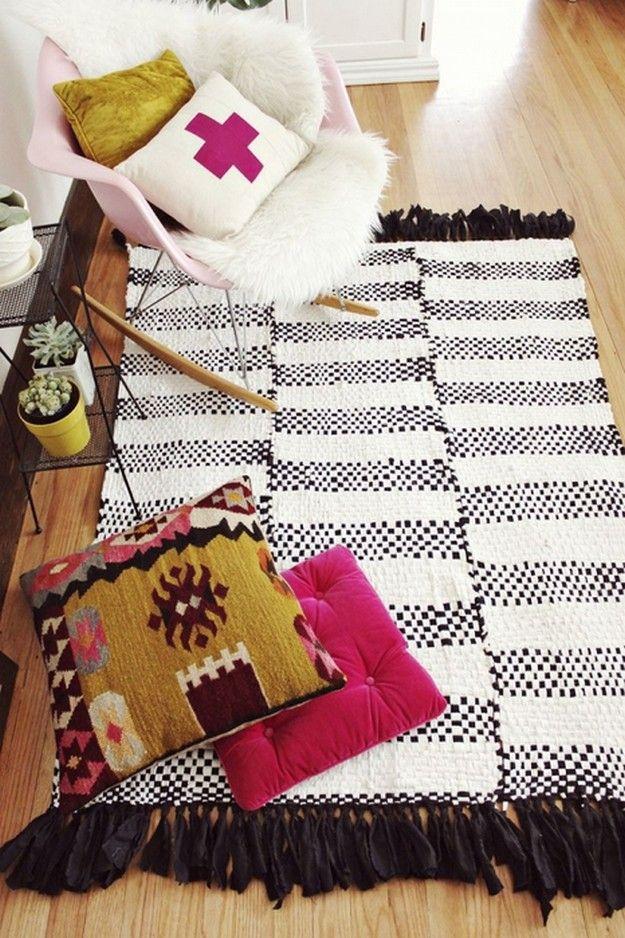 картинка вязаный коврик из полос ткани, мастер-класс
