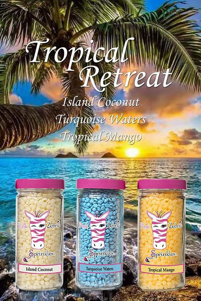 Pink Zebra Recipes: Tropical Retreat.  Featuring: island Coconut, Tropical Mango and Turquoise Waters.