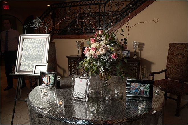 Foyer Decor For Wedding : Gray sequin tablecloth for guest book table wedding