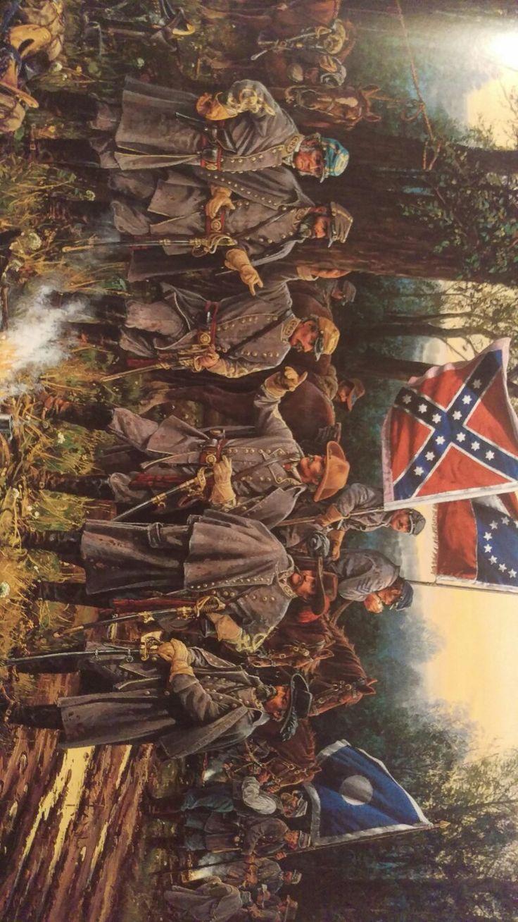 "April 5, 1862 Shiloh, Tennessee. Generals- Polk, Bragg, Beauregard, Johnston, Breckenridge, & Hardee. Art of John Paul Strain. ""Witness to the Civil War"""