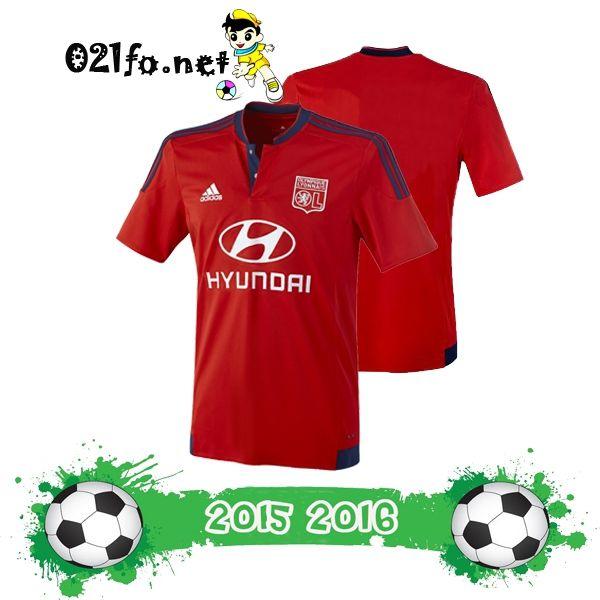 Vetements foot maillot exterieur lyon 2015 2016 rouge manche courte pas cher chine