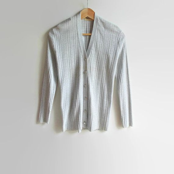 Pearl Gray Lurex Vintage Cardigan Ribbed Cardigan Jane by branda