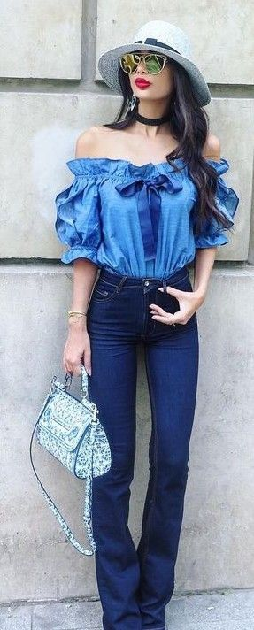 #summer #stylish #style #outfitideas | Shades Of Blue + Ruffles + Pop Of White