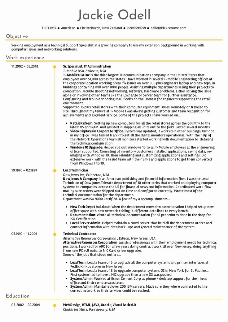 It Support Technician Resume Unique Resume Examples by