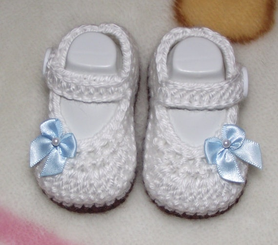 Baby Girl Crochet Mary Janes Size 0 - 3 months