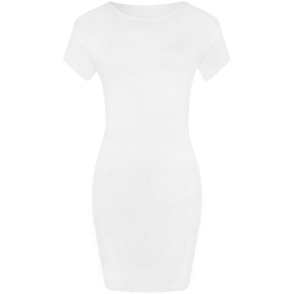 Luella Bodycon T-Shirt Dress ($14) ❤ liked on Polyvore featuring dresses, white, body con dress, white dress, basic tshirt, tshirt dress and rayon dress