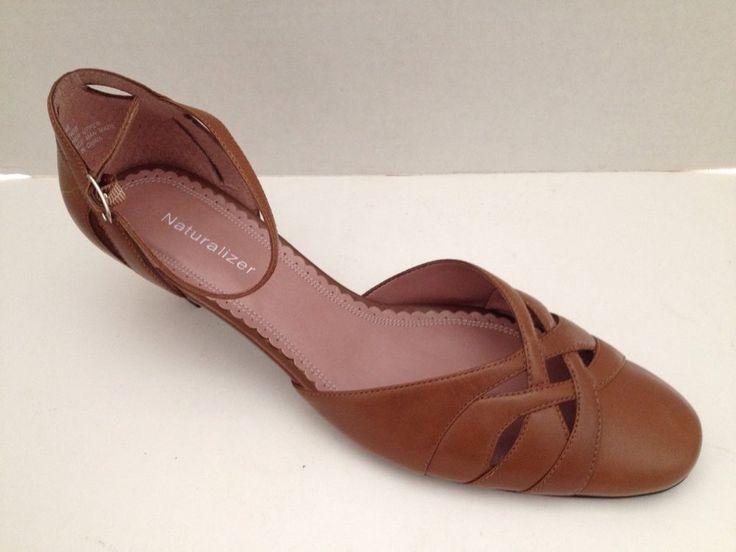 Naturalizer Shoes Womens Size 7.5 M Heels Tan with Ankle Strap Leather 7 1/2 M #Naturalizer #MaryJanes