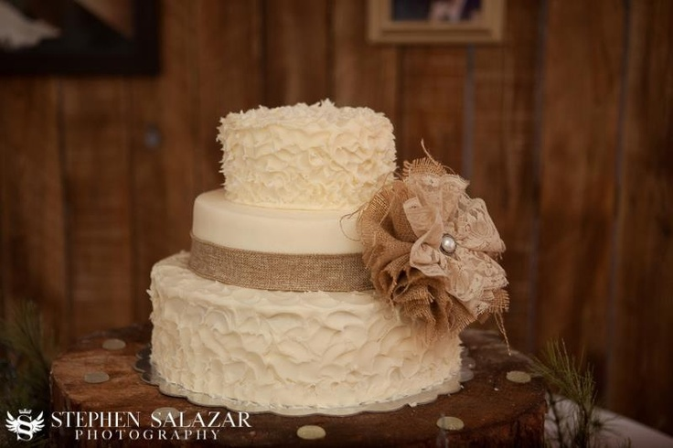 Rustic Country Wedding Cake With Burlap And Lace Bow