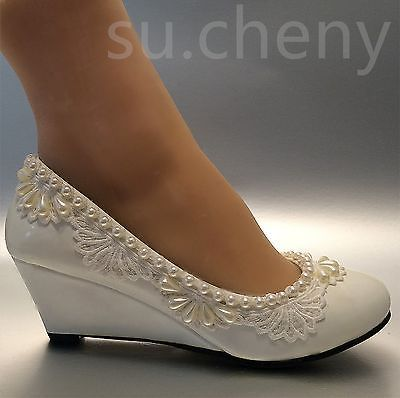 "2"" heel wedges lace white light ivory pearl Wedding shoes Bridal low size 5-10.5"