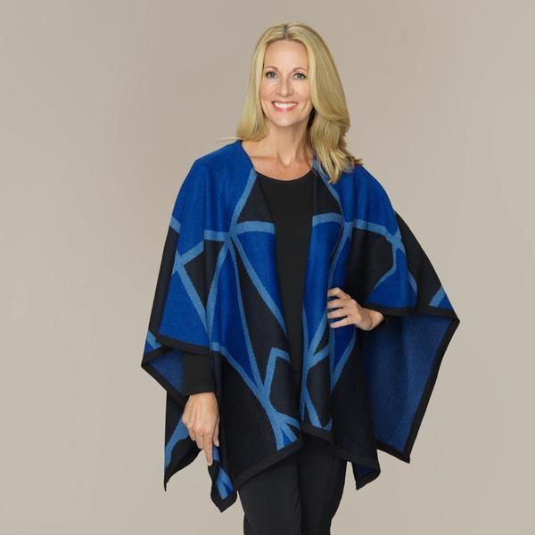 A striking jacquard ruana in a bold geometric pattern.    Colour, Electric Blue  Knitted in 100% Superfine Alpaca. Classic fit One size
