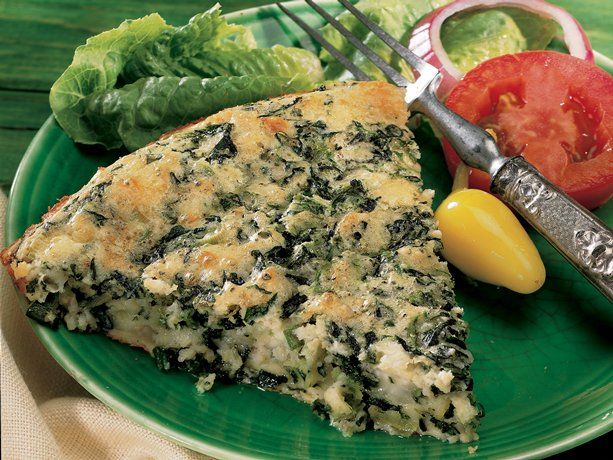 "Impossible Spinach and Feta Pie  (I call this my ""Spanokopita, Crustless Pie!"" It's really LOW in carbs & a quick, ""Go-to-Meal"" when you're on a diet!  You'll LOVE it.  Jeannie)"
