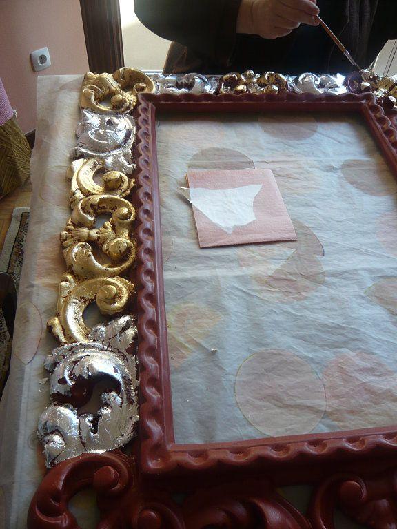 Paso a paso marco para espejo pan de oro y plata for Espejos pequenos para pegar