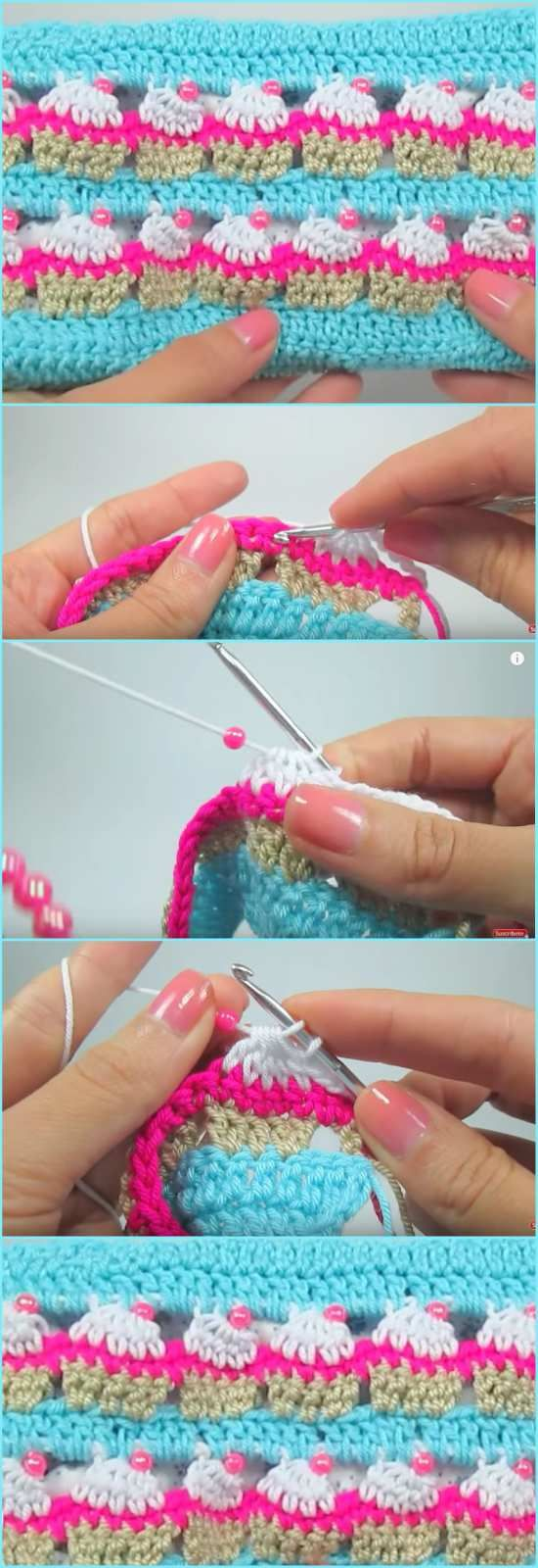 Cupcake Crochet Stitch and Cupcake Case [Free Pattern and Video Tutorial] - ONLY FREE crocheting patterns for Amigurumi, Toys, Afghans, Baby Blankets, New Stitches and Tutorials and many more!