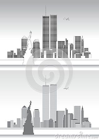 Vector file, illustration New York skyline and WTC Twin Towers